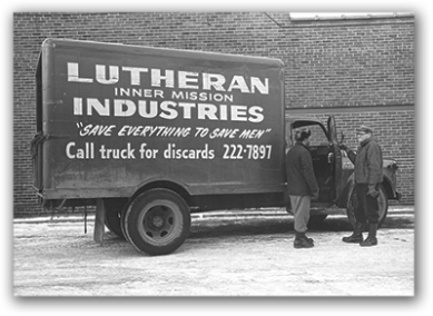 Graceworks Lutheran Services - historical photo of two men in a Lutheran Industries delivery truck