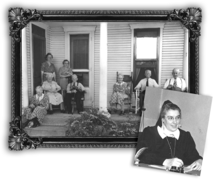 Bethany Village - historical photo of elderly people on front porch